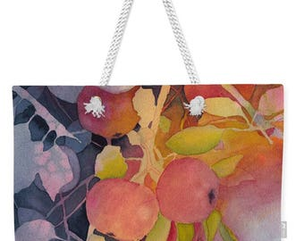 Mother's Day Gift Idea Autumn Apples Watercolor Weekender Tote Purse Bag