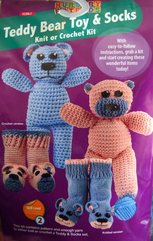 Teddy Bear Toy & Socks Knit Or Crochet Kit By Nursery Friends Knit ...