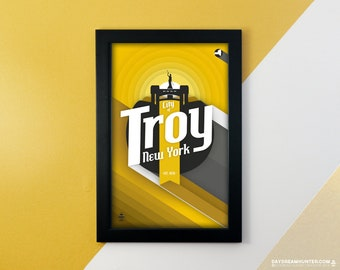 City of Troy, NY Print • Upstate New York Poster • Rensselaer • Hudson River Valley • Capital District • Wall Art Graphic Design