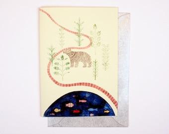 Greeting Card - Bear and Lake Card