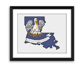 PDF - Louisiana State Flag Outline Cross Stitch Pattern