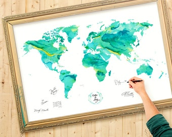 Map guest book etsy wedding guest book alternative wedding ideas green mint watercolor personalized guest book gumiabroncs Image collections