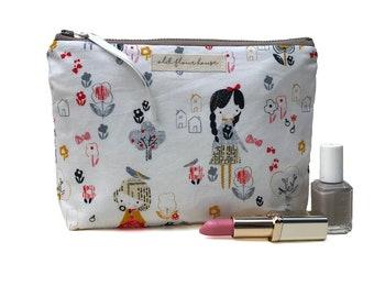 Makeup Bag, Cosmetics Bag, Gift for Girls, Cute Make Up Bag, Girly Cosmetics, Toiletry Bag, Make-up Pouch, Makeup Storage, Old Flour House
