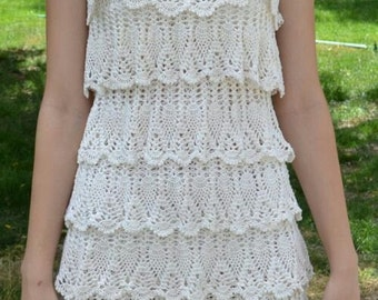 Crocheted Layered Lace Slip Style Dress