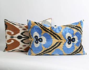 Velvet ikat pillow cover with silk ikat backing 16x24 Handwoven Blue brown black bohemian lumbar decorative handwoven pillow