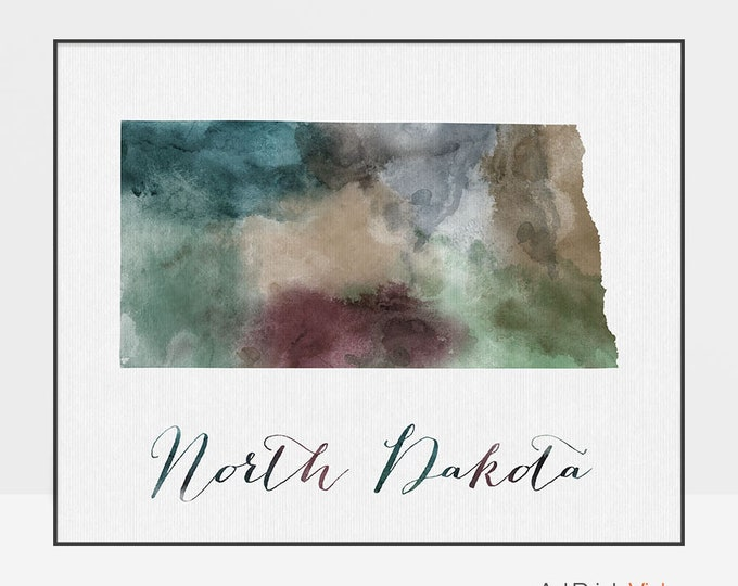 North Dakota state map print, Watercolor map, Wall art, North Dakota map poster, North Dakota, watercolor fine art print ArtPrintsVicky