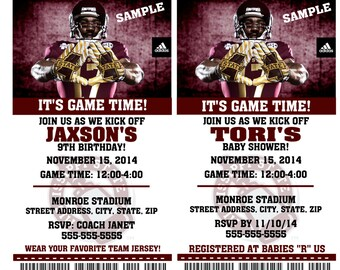 Printable Mississippi State Bulldogs College Football Birthday Party Invitation NCAA Ticket Invitation Baby Shower Invitations