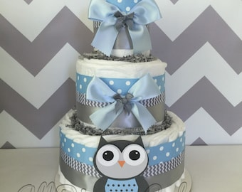 owl baby shower diaper cake in pink and grey owl baby