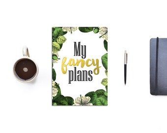 A5 planner cover sheet - my fancy plans - green and white - botanical planner page - illustrated floral diary cover - gold and black