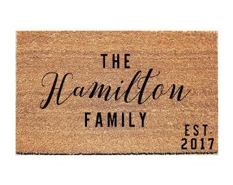 Last Name & Est. Year Doormat - Custom Door Mat - Custom Doormat - Personalized Doormat - Bridal Shower Gift - Gift for Married Couple -