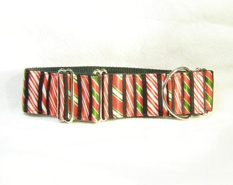 """Martingale Greyhound Collar Candy Cane Green Red Martingale Collar 2"""" Wide"""