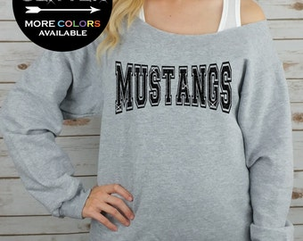 MUSTANGS Off Shoulder Raw Edge Sweatshirt for Women // GLITTER // Mascot Sweatshirt, Football Shirt, Sports Tee, Plus Sizes (Black Glitter)