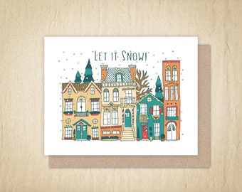 Let it Snow, Christmas Cards, Holiday Greeting Card, Illustrated Holiday Cards, Holiday Card, Hand Drawn Card