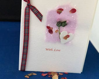 Scottish Handmade  card 'With Love' theme with thistle and tartan ribbon. Personalisation possible