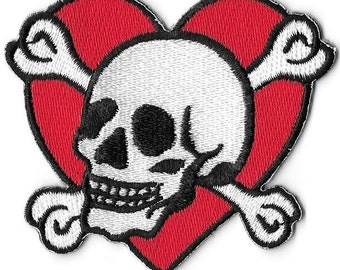 Heart with Skull & Bones Embroidered Patch Iron On Applique Tattoo Flash