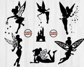 Disney svg, Tinkerbell, Disney World svg, Disney Castle, Fairy, Magic Kingdom, Disneyland, Cut File, DXF, silhouette, cameo, cricut, pn