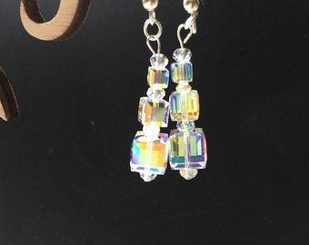 Swarovski Crystal  AB Cube Dangle Earrings