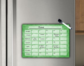 Monthly Calendar, Fridge Planner, Magnetic, Dry wipe, Monthly Schedule, Family Command Centre, Magnet Dry Erase, A4 (11.7 x 8.3 inches)