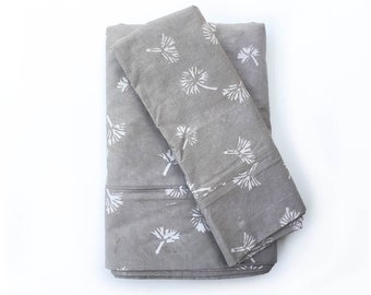 Cotton Bedsheet Set Flat Sheet Pillowcases Bedding Grey geometric modern bedspread, Sheets, Linens, Bedroom, 240 Thread Count -  Dandelion