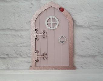Rose Gold Fairy Door -  Fairy Gift -  Magic Door - Wooden Door -  Make Believe - Fairies - Fairy Door Kit - Fairy Dust - Tooth Fairy Door