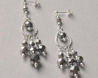 Midnight Silver Chandelier Earrings