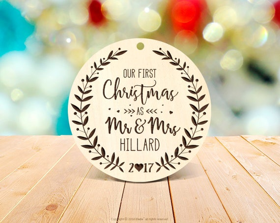 Rustic First Christmas as Mr & Mrs Ornament Our First Christmas Married Ornament New year Christmas Ornament Wedding Ornament Wood 2b