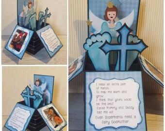 Godparent Card, Pop Up Box, Box Card, Christening Card, Baptism, Godmother, Godfather, Will you be my Godmother, Holy Communion, Dedication.