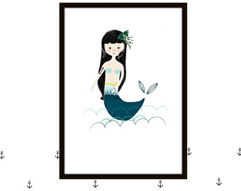 Mermaid Print- Pearls and sea-
