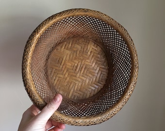 Vintage 60s 70s Woven Handmade Basket from Japan