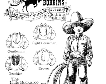 Buckaroo Bobbins Boys' Little Buckaroo Cowboy Western Shirt sizes 4-14 Sewing Pattern 5 Styles