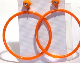 VINTAGE Earrings Dangle HOOP earrings Orange Earrings Hoop Earrings 3 inch Hoop