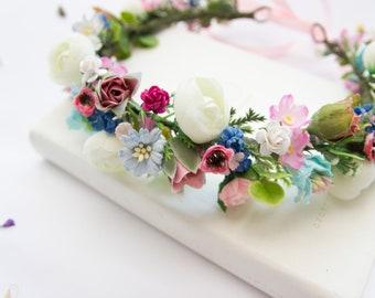 Boho Bridal Flower Crown, Woodland Crown, Flower Crown Wedding, Green Flower Crown, boho floral crown, flower girl crowns, hair flowers 1161