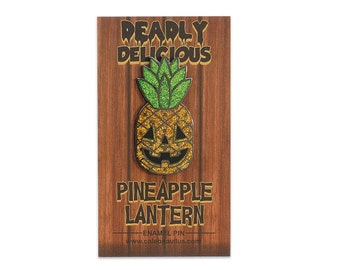 Deadly Delicious Glitter Pineapple Lantern Pin