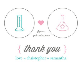 Chemistry / Beaker / Science Thank You Card - Coordinates with Invite!