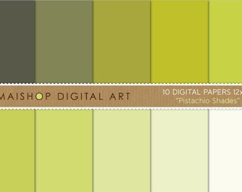 Solid Color Digital Paper 'Pistachio Shades' Printable Instant Download Backgrounds for Scrapbooking, Invitations, Crafts...