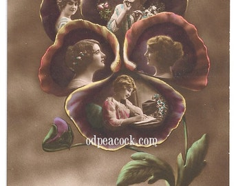 Surreal floral flower montage postcard real photo tinted
