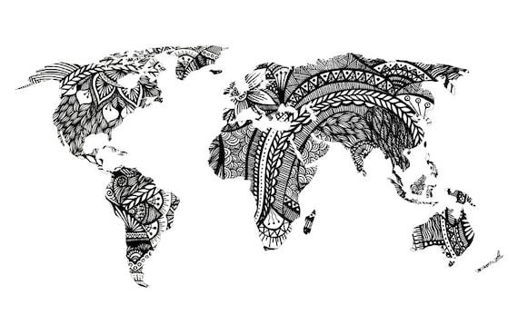 Design world map art print black and white drawing prints te gusta este artculo gumiabroncs Images