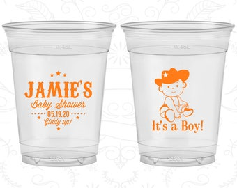 It's a Boy Baby Shower, Baby Shower Soft Sided Cups, Cowboy Baby Shower, Baby Shower Disposable Cups (90078)