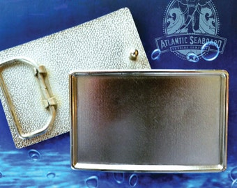 Polished Silver Tone Rectangle Belt Buckle Blank - DIY