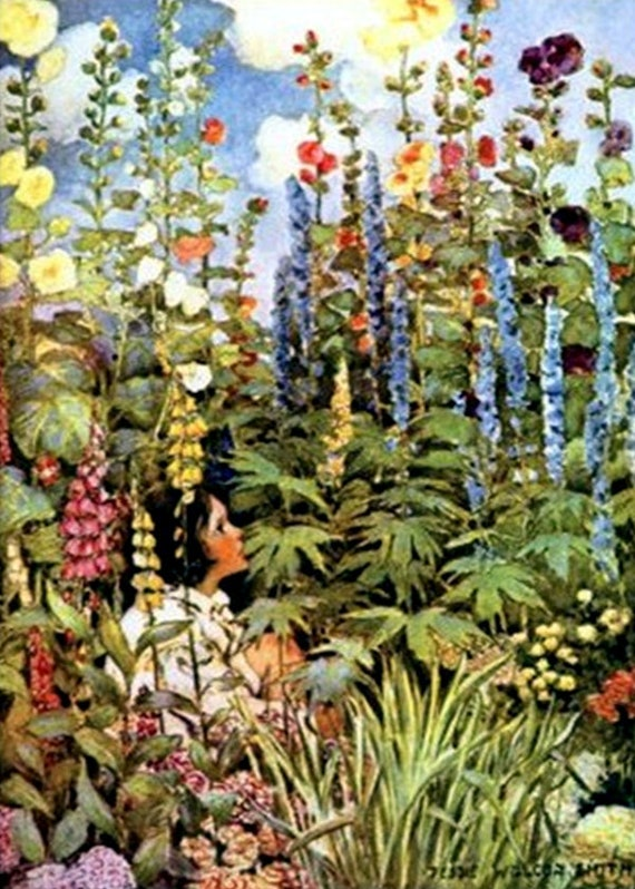 "In The Garden 5""x7"" Greeting Card + Envelope Hollyhocks Lupine Sunflowers Jessie Willcox Smith Forgotten Art Card Pretty Girl Postcards"