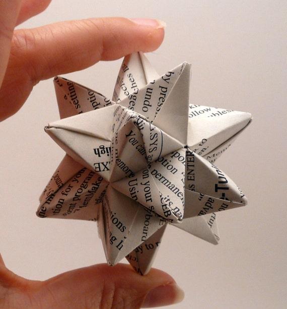Small Book Star Ornament Christmas Ornament Origami Star
