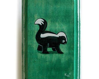 Skunk Art - Original Wall Art Acrylic Small Painting on Wood by Karen Watkins - Miniature Woodland Creature Wall Art