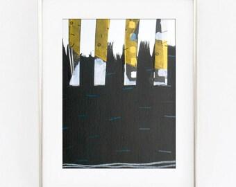 Small Black and Yellow Abstract Drawing - Small Abstract Art - Small Black Painting - Black yellow art - Black Yellow Abstract Drawing