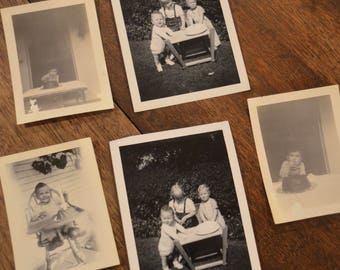 Lot of vintage black and white old photographs photos pictures first birthday children kids cake