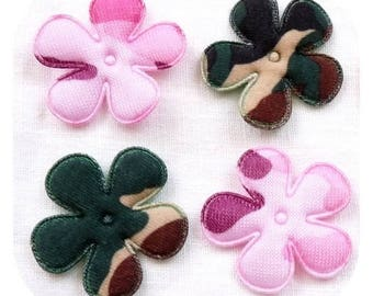 SET OF 4 FLOWER APPLIQUES PINK ARMY GREEN CAMOUFLAGE FABRIC
