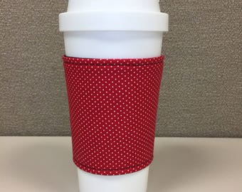 Red and White Polka Dot - Reusable Coffee Cup Sleeve, Mug Cozy, Cup Sleeve, Coffee Cup Cozy