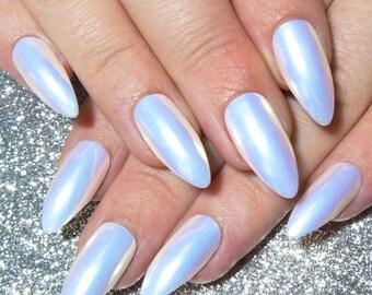 Unicorn Fake Nails - Press On Nails Pastel - Almond False Nails - Gel Faux Nails - Rainbow Nails - Glue On Nails - Holographic White Nails
