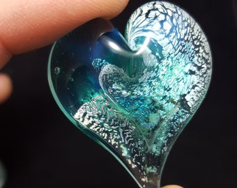Cremation, Memorial, Glass Heart Keepsake with ashes   Ashes in Glass Memorial Pendant   Glass Cremation Paperweight