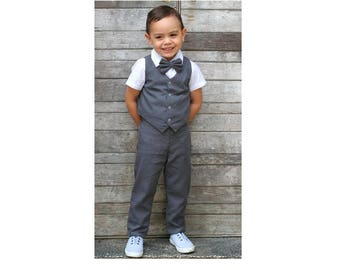 4 pcs. Boy Christening Outfit- Dark Grey,Suspender pants,Boy Linen Suit,Page Boy,Ring bearer,Baptism,Linen pants,newsboy,Boy wedding suit