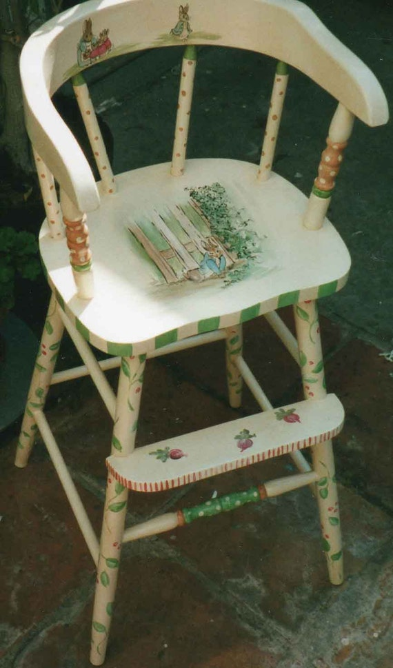Delightful Peter Rabbit Youth Chair Hand Painted High Chairs Hand